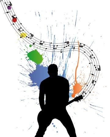 band instruments: Rock group guitarist. Vector illustration for design use. Illustration