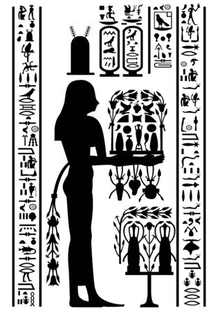 ancient egyptian culture: Egyptian hieroglyphs and fresco. Vector illustration.