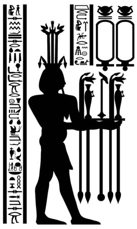 Egyptian hieroglyphs and fresco. Vector illustration. Stock Vector - 9223029
