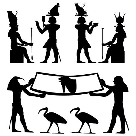 esfinge: Jerogl�ficos egipcios y fresco. Ilustraci�n vectorial.