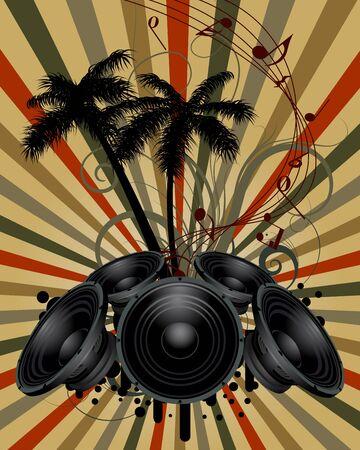 Musical grunge background. Vector illustration.