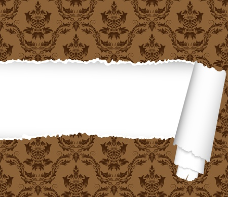 victorian wallpaper: Damask seamless vector pattern with ripped copy-space for your text.  For easy making seamless pattern just drag ornate group into swatches bar, and use it for filling any contours.