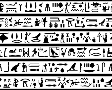 Egyptian seamless hieroglyphs pattern.  For easy making seamless pattern just drag all group into swatches bar, and use it for filling any contours. Vector
