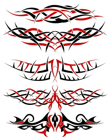 Black with red patterns of tribal tattoo for design use Stock Vector - 9223031