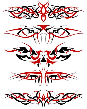 Black with red patterns of tribal tattoo for design use Vector