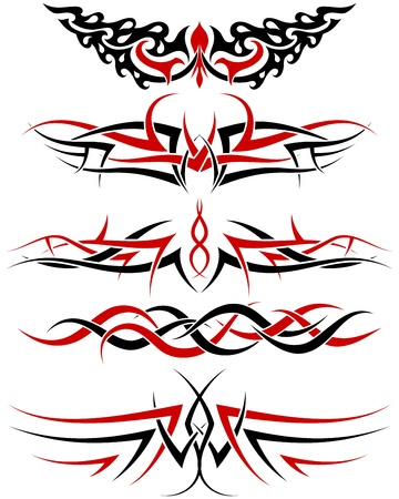 dingbats: Black with red patterns of tribal tattoo for design use Illustration