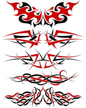 Black with red patterns of tribal tattoo for design use Stock Vector - 9223027