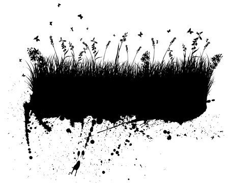 landscaped: Vector grunge grass silhouettes background. All objects are separated.
