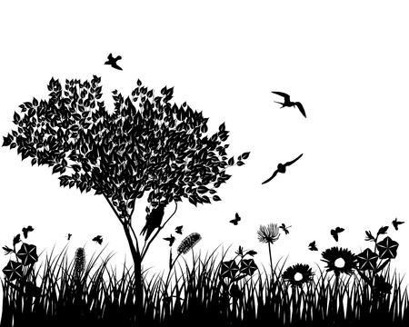 Vector gras silhouetten achtergrond. Alle objecten worden gescheiden. Vector Illustratie