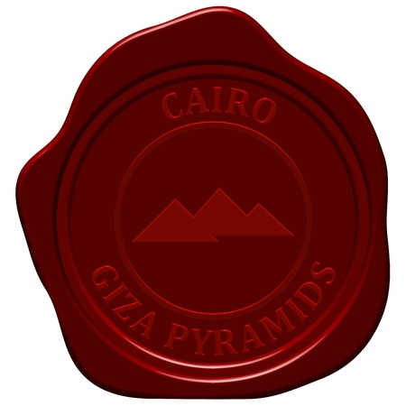 Pyramids sealing wax stamp for design use. Vector
