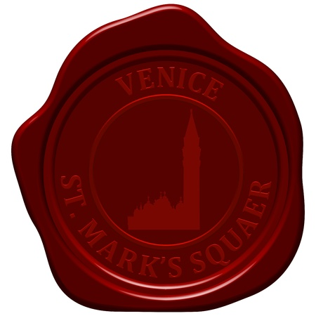 st marks square: St. Marks square.  Sealing wax stamp for design use.