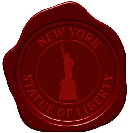 red wax seal: Statue of liberty. Sealing wax stamp for design use.