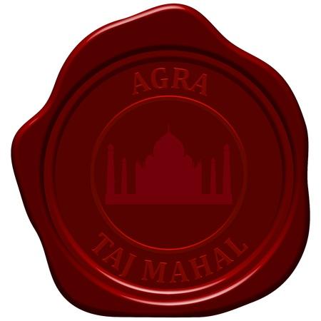 sealing: Taj Mahal. Sealing wax stamp for design use.