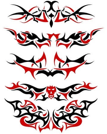 Patterns of black and red tribal tattoo for design use Vector