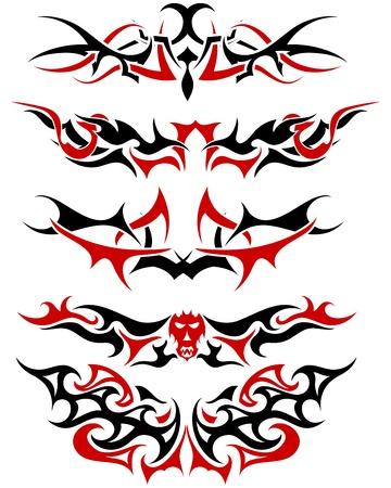 Muster des schwarzen und roten tribal Tattoo Design einsetzbar