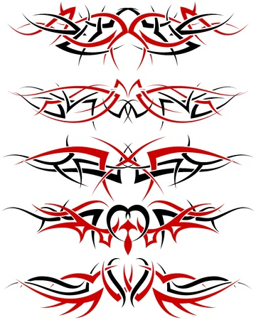Patterns of black and red tribal tattoo for design use Stock Vector - 9278497