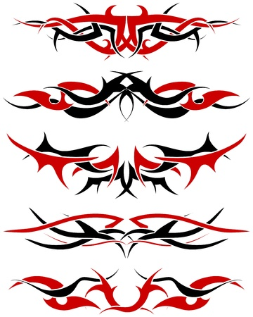 dingbats: Patterns of black and red tribal tattoo for design use