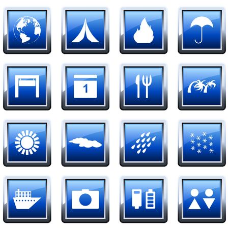 hotel resort: Travel set of different vector web icons