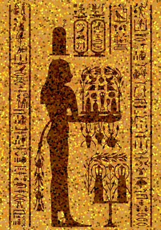 hieroglyph: Egyptian hieroglyphs and fresco. Vector illustration.