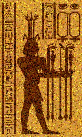 Egyptian hieroglyphs and fresco. Vector illustration. Vector