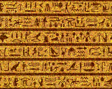 sphinx: Egyptian seamless hieroglyphs pattern.  For easy making seamless pattern just drag all group into swatches bar, and use it for filling any contours.
