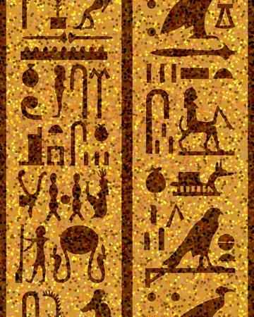 esfinge: Patr�n de jerogl�ficos egipcios transparente.  Para f�cil hacer transparente patr�n s�lo arrastre todos los grupos en la barra de muestras y utilizarlo para llenar cualquier contornos.