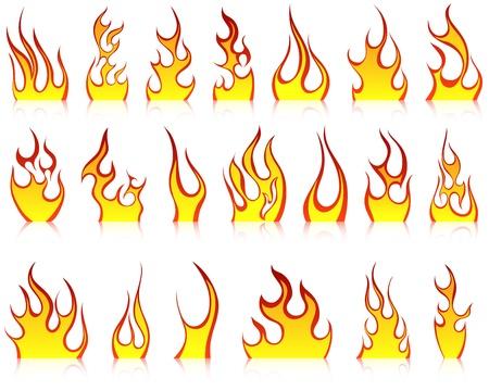 resplandor: Conjunto de iconos de vector de fuego para uso de dise�o Vectores