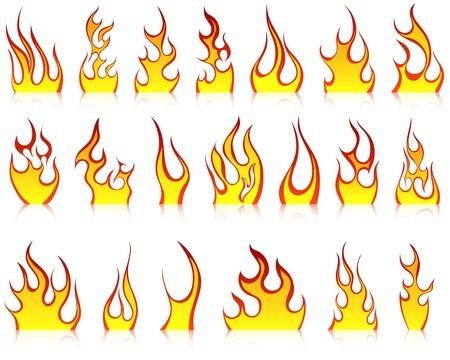 fiery: Set of fire vector icons for design use Illustration
