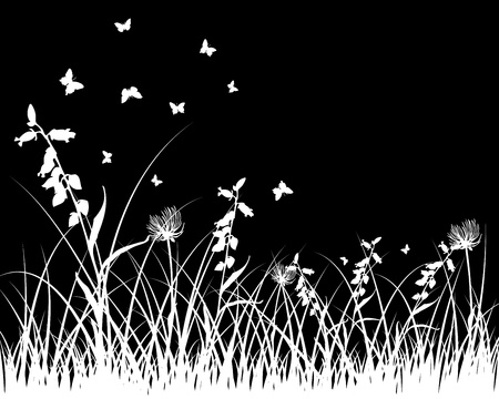 Vector grass silhouettes background. All objects are separated. Stock Vector - 9466246