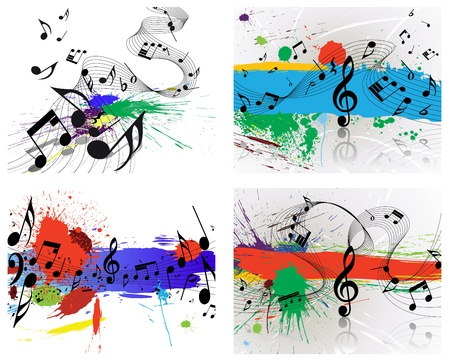spatter: Set of vector musical notes staff on grunge background for design use