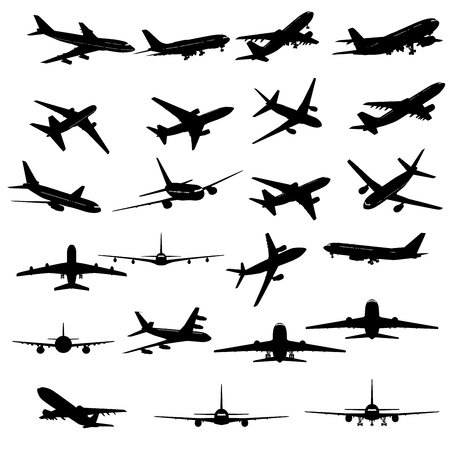 airplane landing: Big collection of different airplane silhouettes.