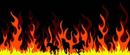 tongues of fire: Horse silhouettes with flame tongues. Vector illustration. Illustration