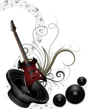 speakers: Musical grunge background. Vector illustration. Illustration