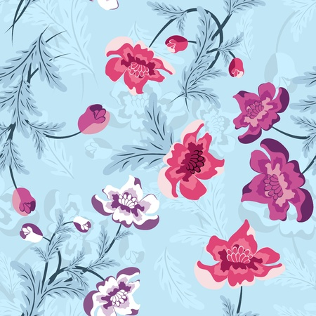 Seamless vector floral pattern. For easy making seamless pattern just drag all group into swatches bar, and use it for filling any contours. Stock Vector - 9504344