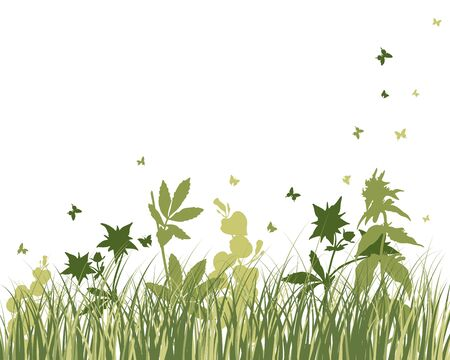 animal frames: Vector grass silhouettes background. All objects are separated. Illustration