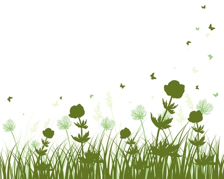 meadows: Vector grass silhouettes background. All objects are separated. Illustration
