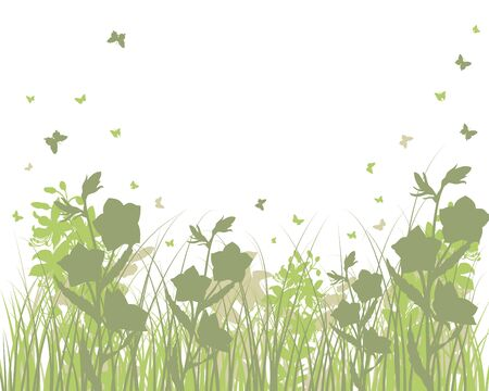 Vector grass silhouettes background. All objects are separated. Stock Vector - 9504328