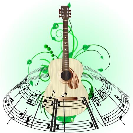 note musicale: Sfondo musicale grunge. Illustrazione vettoriale. Vettoriali