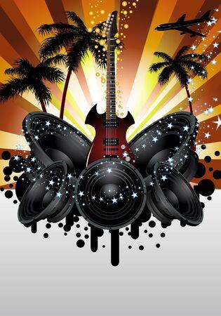 Musical grunge background. Vector illustration. Stock Vector - 9504345