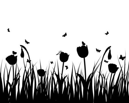 grass land: Fondo de siluetas de hierba de vector. Todos los objetos est�n separados. Vectores