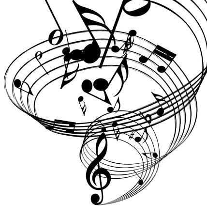 nota musical: Vector musical toma nota de antecedentes del personal para uso de dise�o