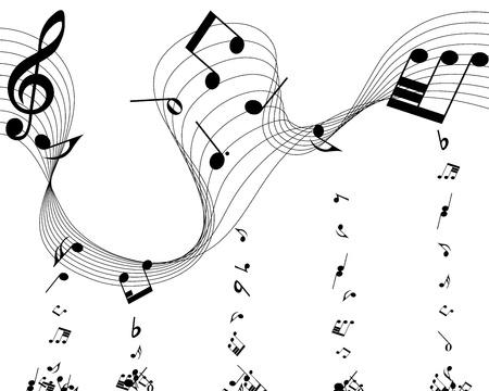 trills: Vector musical notes staff background for design use Illustration