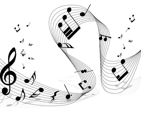 Vector musical notes staff background for design use Illustration