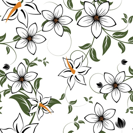Seamless vector floral pattern. For easy making seamless pattern just drag all group into swatches bar, and use it for filling any contours. Stock Vector - 10089311