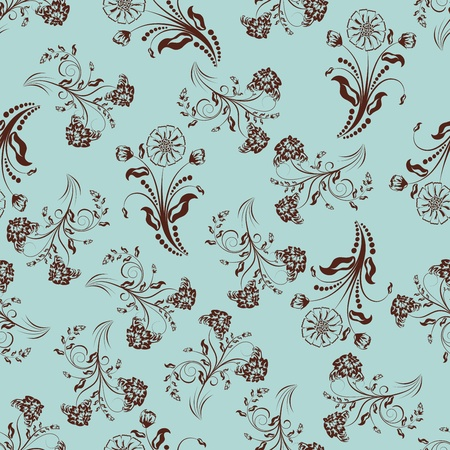 vintage colors: Seamless vector floral pattern. For easy making seamless pattern just drag all group into swatches bar, and use it for filling any contours. Illustration