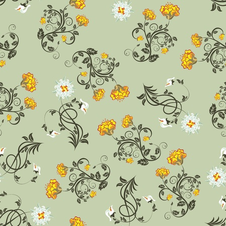 Seamless vector floral pattern. For easy making seamless pattern just drag all group into swatches bar, and use it for filling any contours. Illustration