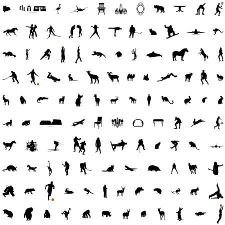 sportsman: Conjunto de silueta de collage con animales, muebles, hombres y edificaciones. Colecci�n de 5. Vectores
