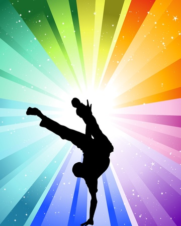 dancer male: Brake dancer at the festive color rays and stars. Vector illustration for design use.