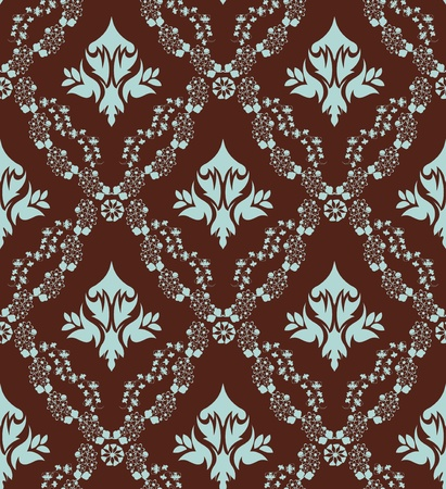 swatches: Damask seamless vector pattern.  For easy making seamless pattern just drag all group into swatches bar, and use it for filling any contours. Illustration
