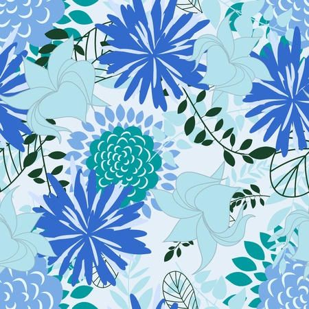 Seamless vector floral pattern. For easy making seamless pattern just drag all group into swatches bar, and use it for filling any contours. Stock Vector - 10367825